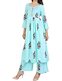 Fashioto Women's Cotton Anarkali Kurti With Palazzo Pant Set