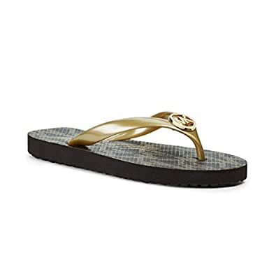 Michael Kors Women's Mk Flip Flops Gold Gold Rubber Flip-Flops and House Slippers - 4.5 UK