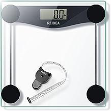 REIDEA Báscula de Baño Digital 180kg / 400lbs / 28st, Alta Medición Electronica Precisa con Diseño Extraplano y LCD, Cinta Métrica Incluida, Vidrio Transparente