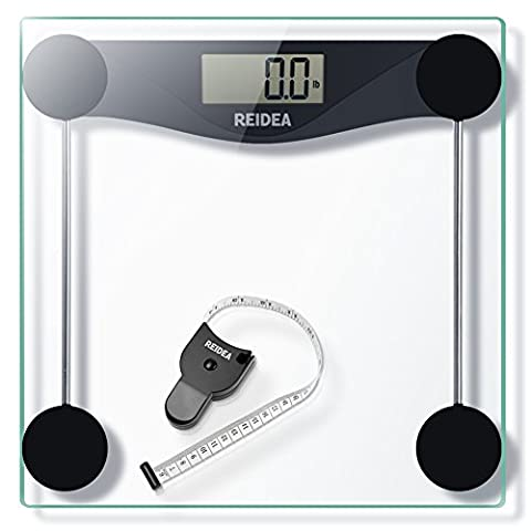 REIDEA Digitale Personenwaage, 5kg-180kg, Großem LCD-Display, mit Batterie und Maßband, Schwarz