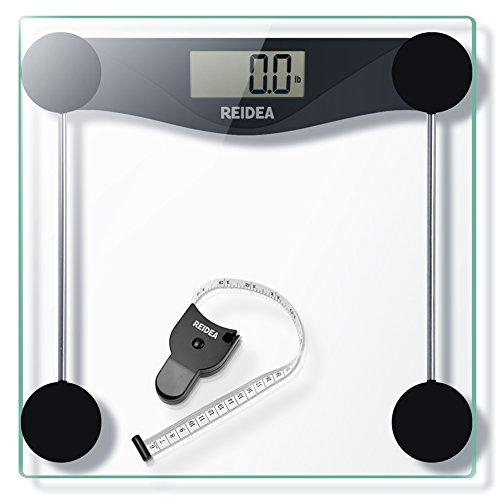 REIDEA Digitale Personenwaage Körperwaage Gewichtswaage Digitalwaage aus Sicherheitsglas, 5kg-180kg, Slim Design, mit Großem LCD-Display, Inkl. Maßband