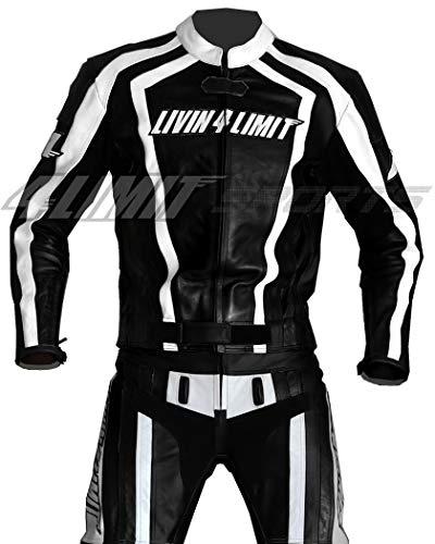 4LIMIT Sports Motorrad Lederkombi LAGUNA SECA Zweiteiler, schwarz-weiß, Größe M
