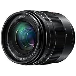 Panasonic Lumix Objectif Zoom Standard pour capteur micro 4/3 12-60mm F3.5-5.6 H-FS12060E (Grand angle 12mm, Stabilisé, Zoom Polyvalent, Tropicalisé, equiv. 35mm : 24-120mm) Noir - Version Française