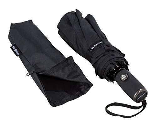 VAN BEEKEN Regenschirm Taschenschirm aus Fiberglas windsicher, Wasserabweisende Teflon-Beschichtung, klein, leicht & kompakt – Stabiler Schirm mit automatischer Auf-Zu-Automatik, 100 cm