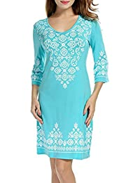 5e52a9d8a7b25 beautyjourney Robe De Plage,Femmes 3 4 Manches Casual Impression Flowy  Swing T-Shirt Robe Tunique Robe Sexy Grande Taille Femme…