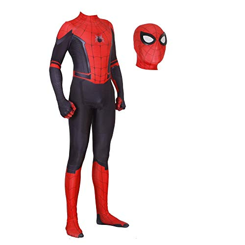 Kostüm Lycra Spiderman - JUFENG Erwachsene Kinder Spider-Man 2019 Halloween Kostüm Overall 3D Print Spandex Lycra Spiderman - Cosplay Body,C-Child/XL