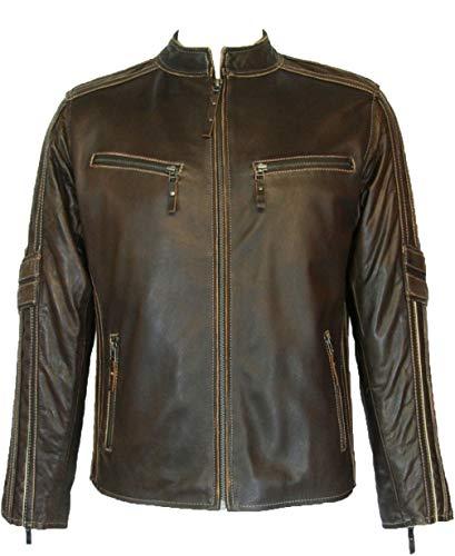 UNICORN Hommes Réel en cuir Veste à grain Biker style Brun Taille 44 #S4