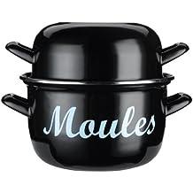 Kitchen Craft - Cacerola de acero esmaltado para cocinar mejillones al vapor (18cm), color negro