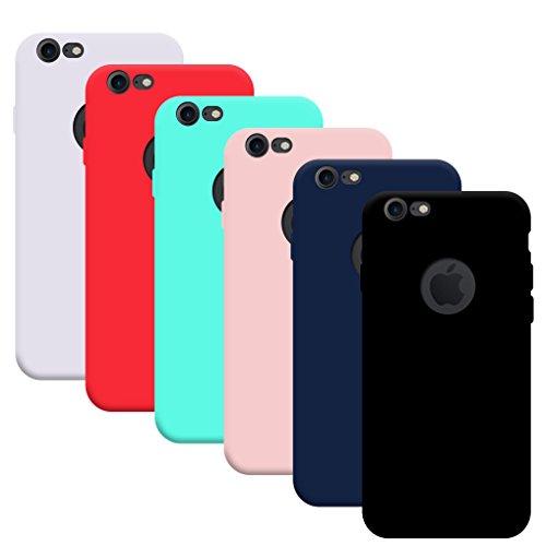 6x Funda iPhone 7/ iPhone 8, Yidaxing Funda Silicona Gel Carcasa Ultra Delgado Flexible TPU Goma para iPhone 7/ iPhone 8 con 6 Colores, Negro, Azul, Rojo, Verde, Rosa, Transparente