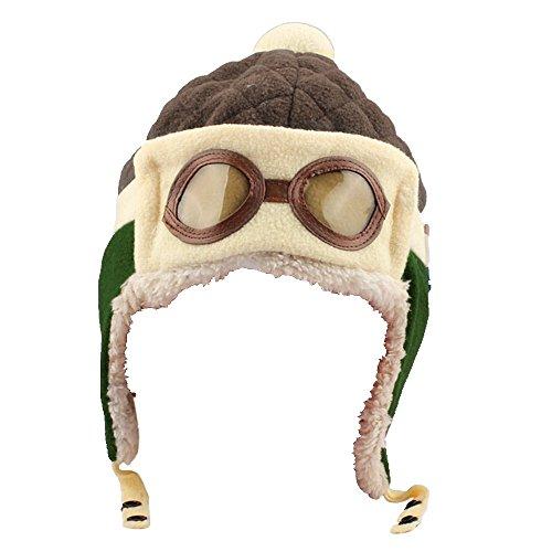 Fuibo Jungen-Winter-warme Kappen-Hut-Beanie-Pilot häkeln Earflap-Hüte (C)