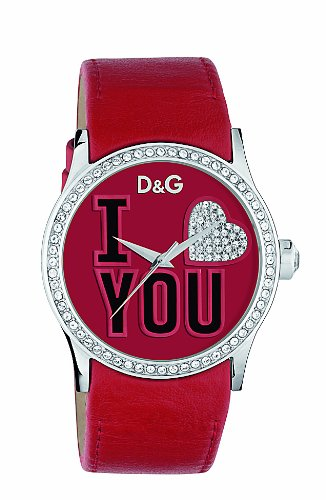 D&G Dolce&Gabbana Women's Quartz Watch with Red Dial Analogue Display and Red Leather Strap DW0147 D&G