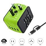 VGUARD Worldwide Travel Adapter, 4 USB Ports Universal Travel Adapter International Power Adapter Plug Adapter Converter UK USA EU AUS Asia China Ireland Thailand 150+ Countries - Green