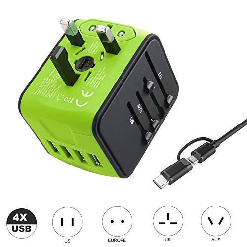 VGUARD Adaptador Enchufe de Viaje Universal Cargador Internacional con 4 Puertos USB (MAX 3.4A) para US EU UK AU Japon Asia África Más de 150 Países (Verde)