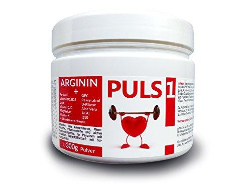 PULS1 – Der neue Preis-Leistungs-Knüller mit Zufriedenheitsgarantie! L-Arginin-Kombipräparat der Extraklasse! Inkl. OPC + Resveratrol + Q10 + Folsäure + Vitamin B6/B12 und noch viel viel mehr!