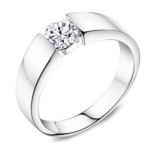 Bishilin Ring Silber 925 Rund Cut Simulated Lab Erstellt Diamant Hochzeit Ringe Verlobungsring Größe 62 (19.7)