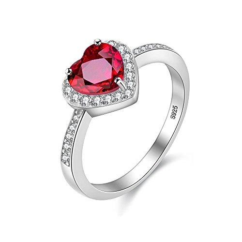 Uloveido Womens Solitaire Engagement Eternity Ring mit Rotem Herz Love Knot natürlichen Granat - Einzigartige Sterling Silber Brautschmuck mit Box Verpackung CJ007-8