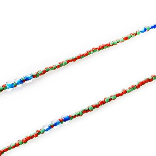Frauen, S Fashion Deko Glas Perlen Kette Schlüsselanhängerform Sonnenbrillenhalterung Schultergurt Eyewear Retainer Lanyard Halskette in 6 Farbkombinationen erhältlich Chic und trendy Green-Red 67 cm
