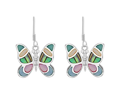 Tuscany Silver Damen Sterling Silber mehrfarbig Shell Butterfly 20.3mm x 29mm Drop Ohrringe 8.57.8309 Butterfly Shell