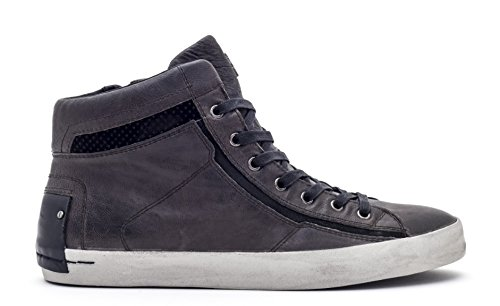 Crime London Stivaletto Uomo Sneaker Alta Leather Zip Lavagna_41
