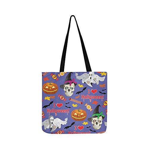 Vektor-nahtlose Beschaffenheit auf Halloween-Thema-Segeltuch-Tote-Handtaschen-Schultertasche Crossbody-Taschen-Geldbörsen für Männer und Frauen, die Tote kaufen