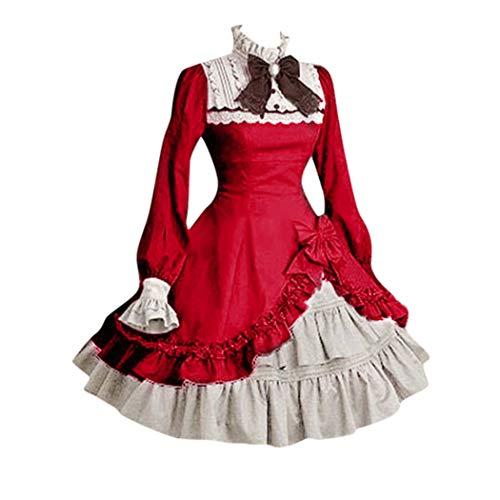 CUTUDE Damen Kleider Röcke Kurzarm Sommer Lolita Nette Frauen Lace Langarm Bowtie Cosplay Kostüme Partykleid Mit Schleife (Wein, Small)