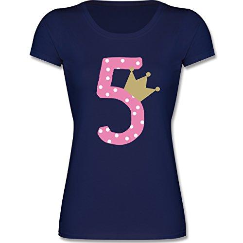 Geburtstag Kind - 5. Geburtstag Krone Mädchen - 116 (5-6 Jahre) - Dunkelblau - F288K - Mädchen T-Shirt (Mädchen Viele T-shirt)