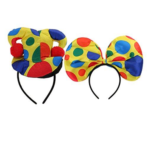 in Clown Hut Stirnband Haarreif Haarband Bowknot Kopfschmuck für Halloween Party (Halloween-hut Stirnbänder)