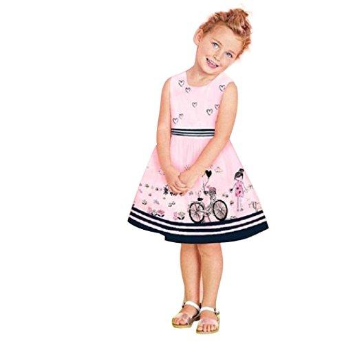 Kleid Prinzessin Festzug Kleinkind Kinder Baby Kleid Mädchen Rosa Ärmellos Party (Prinzessin Kostüm 2t)