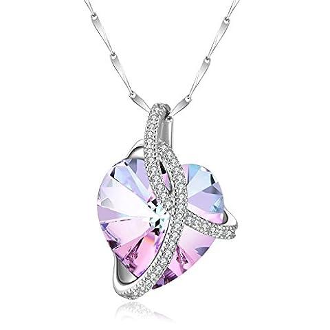 Collier Femme Coeur Argent 925 avec en Forme de Coeur Pendentif Bijoux Pavé avec Cristal de Swarovski, Cadeau Maman Femme, Jamais Trop Tard pour Dire Que Je T