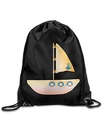 Unisex Sailing Single Boat Sea Print Drawstring Backpack Rucksack Shoulder Bags Gym Bag Sport Bag