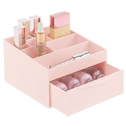 mDesign Make-up Organizer fürs Badezimmer oder den Schminktisch - Beauty Organizer aus Kunststoff - Kosmetikaufbewahrung mit 11 Fächern und einer Schublade - rosa