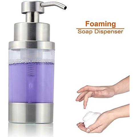anthonlee Foaming Soap Dispenser con pompa, Moderno Per Bagno E Cucina Piano, Accessori, Acciaio Inox e acrilico trasparente decorativo per liquido e lozione | Design Spazzolato