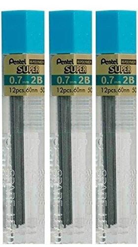 Pentel Buntstiftminen, 0,7 mm, Härtegrad 2B, Schirm Farbstift Nachfüllfarbe Hi Pollymer Super Ersatz Ersatzminen für Druckbleistifte, automatische &3 Röhren, 36 Stück -