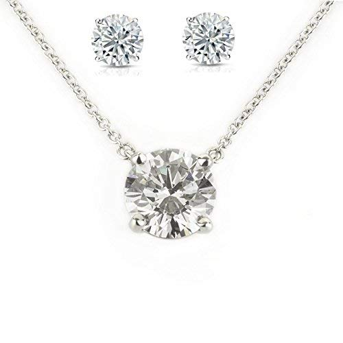 TAZS White Sterling-Silver Solitaire American Diamond Stone Studed Pendant Chain for Girls