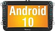 Vanku Android 10 Autoradio für VW Radio mit Navi 16GB Europakarten Eingebautes DAB + Modul Unterstützt Bluetoo