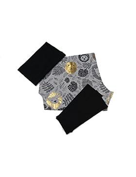 PINIDI / DIY Nähset Mitwachshose Jersey Löwen Glitzer gold schwarz auf hellgrau meliert, Bündchen schwarz