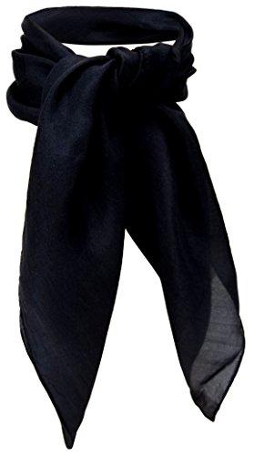 TigerTie Damen Nickituch in Seide schwarz Uni - Tuch Halstuch Gr. 50 cm x 50 cm
