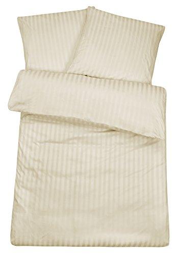 Carpe Sonno Luxuriöse Damast Bettwäsche in exklusiver Hotelqualität 155 x 220 cm Creme aus 100% Baumwolle für besten Schlafkomfort – Hotel Bettzeug Set mit Kopfkissenbezug und edlen Damast-Streifen
