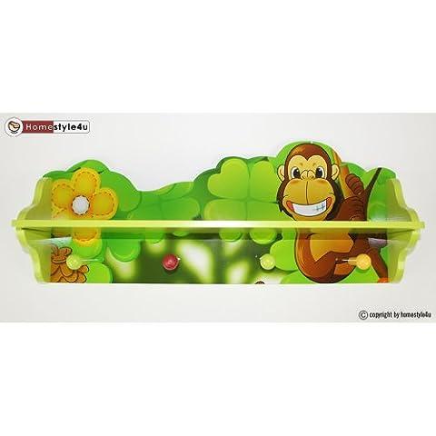 Homestyle4u 769 Wandgarderobe Wandregal Dschungel für Kinder aus Holz in Grün mit 4 Haken B x H: 60 cm x 24 cm Kleiderhaken für das Kinderzimmer - Garderobe Wandhaken Garderobenleiste Kindermöbel