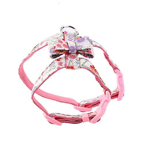 Tag Rennen Bei Den Kostüm - Pangding Haustiergeschirr, Verstellbarer weicher Blumendruck Brustweste Gurt Bogen Knoten Krawatte Blei für Hund Katze Welpe(M-Rosa)