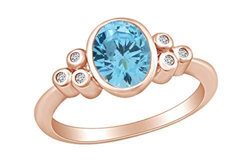 AFFY  -  Gold 9 Karat (375) 10-Karat-Rotgold Oval Blue Diamant - Ring Und Diamant Aquamarin Halo