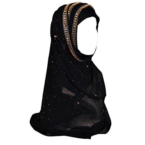 GoGou Frauen Schal Hijabs Rhinestone Plain Glitter Soild Muslim Schals Lange Wrap Schals Kopftuch (Black) Kopftuch, Große