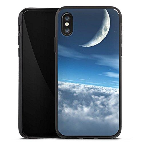 Apple iPhone X Silikon Hülle Case Schutzhülle Himmel Mond Wolken Silikon Case schwarz