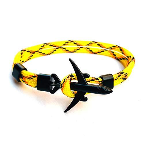 XIAOHA Herrenarmband Schwarze Flugzeuge Anker Armband Männer und Frauen geladen Charme Segeln Überleben Seil Kette Armband Männer Tasche (Cross Verstellbare Leder Halskette)