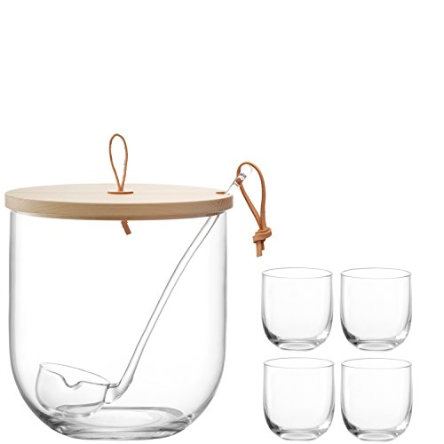 LSA International Ivalo Bowle-Set aus Glas mit Deckel aus Eschenholz, klar, 23cm