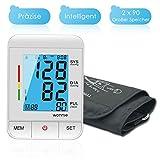 Blutdruckmessgerät Oberarm, WONNIE Automatische große Manschette FDA zugelassene Blutdruckmessgeräte, elektronische LCD Anzeige Blutdruckmessgerät Manschette Zwei Benutzer (2 x 90)