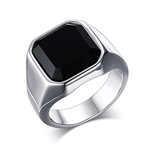 Fashion Stainless Steel Black CZ Ring for Mens Womens Wedding Engagement Promise,Size 11