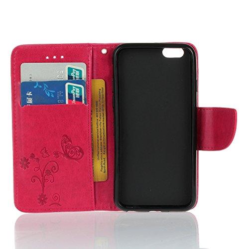 Coque iPhone 6 a rabat, LuckyW PU Housse en Cuir pour Apple iPhone 6/6S (4.7 pouces) Fleur de Papillon Motif Clapet Flip Folio Wallet Portefeuille Case Elegant Durable Protecteur une Portable Holster  Rose rouge