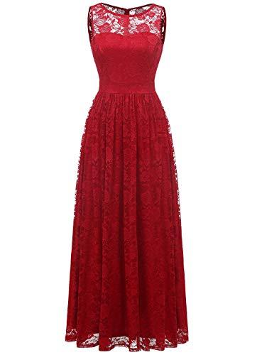 WedTrend 10007 Frauen Lace Lange Brautjungfer Kleid Party Kleid Cocktailkleid Red L