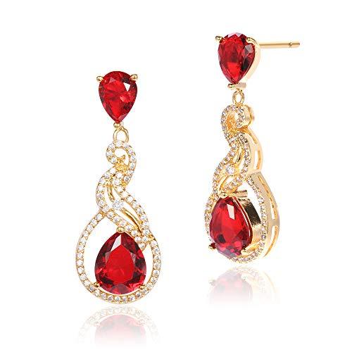 Gravity Damen Mode Ohrring Plattieren Drei Schichten Von 18 K Gold Baumeln Ohrring (rot)